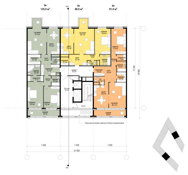План секций 4-х этажного дома и типового этажа. Разрез 2-2. Жилой дом «Бизнес+»- класса. Концепция многофункционального жилого комплекса с объектами социальной инфраструктуры © АБ «Остоженка»