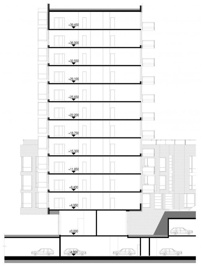 Разрез 2-2. Жилой дом «Бизнес+»- класса. Концепция многофункционального жилого комплекса с объектами социальной инфраструктуры © АБ «Остоженка»
