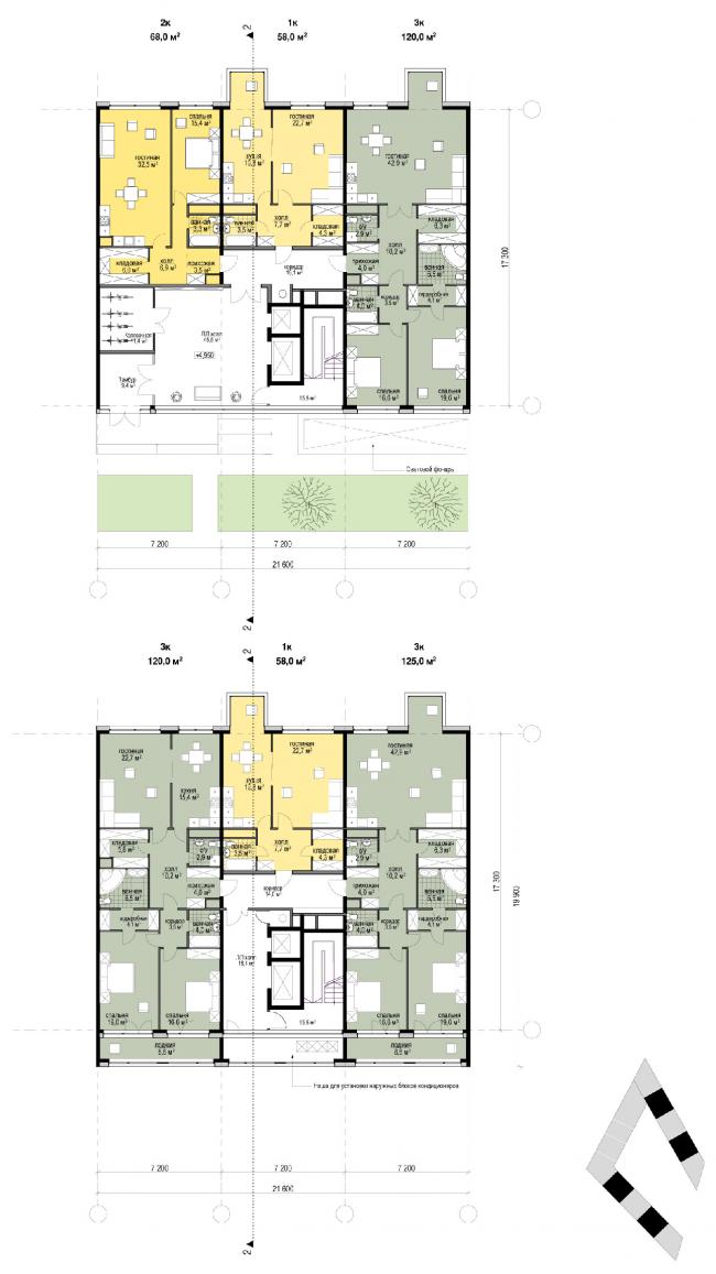 План секций 4-х этажного дома и типового этажа. Жилой дом «Бизнес+»- класса. Концепция многофункционального жилого комплекса с объектами социальной инфраструктуры © АБ «Остоженка»
