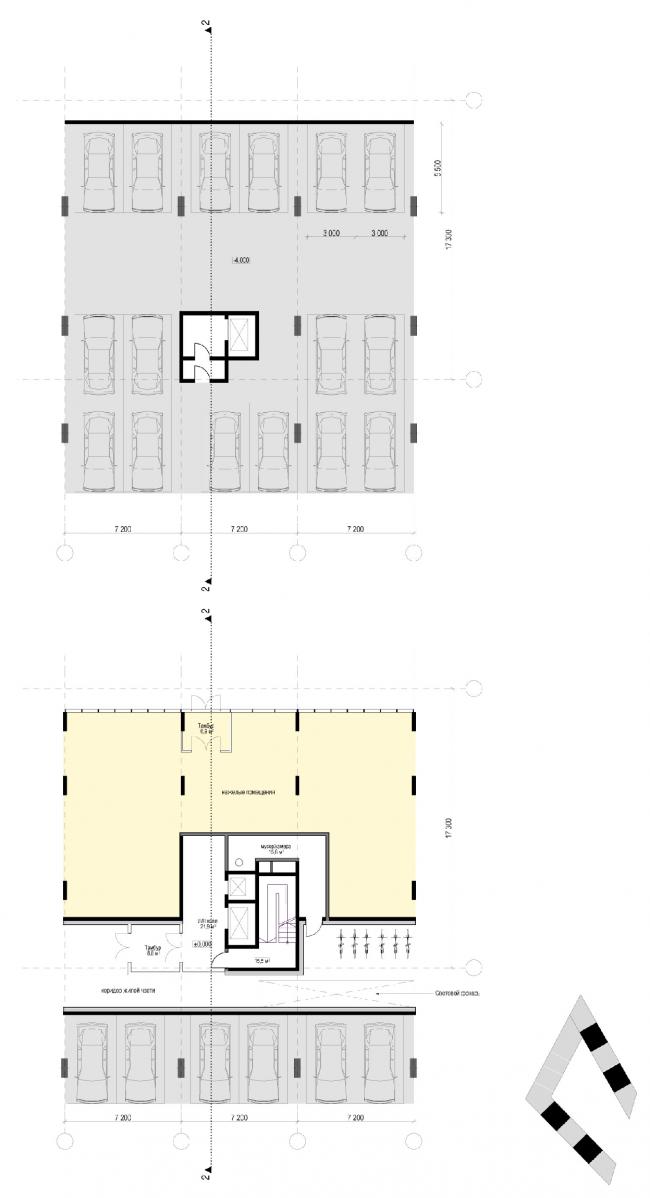 План секций 4-х этажного дома. Жилой дом «Бизнес+»- класса. Концепция многофункционального жилого комплекса с объектами социальной инфраструктуры © АБ «Остоженка»