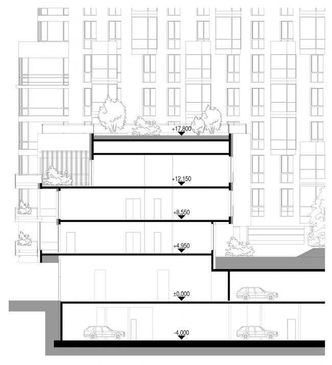 Разрез 1-1. Жилой дом «Премиум»- класса. Концепция многофункционального жилого комплекса с объектами социальной инфраструктуры © АБ «Остоженка»