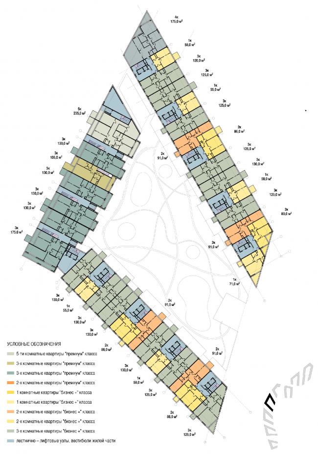 План типового этажа. Объемно-планировочная организация жилого квартала. Концепция многофункционального жилого комплекса с объектами социальной инфраструктуры © АБ «Остоженка»
