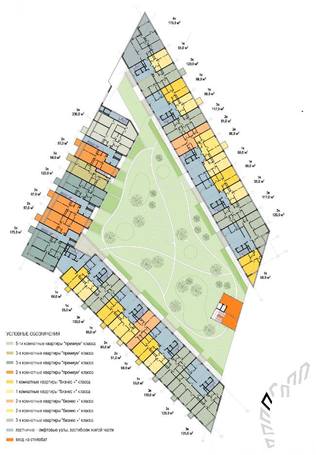 План. Объемно-планировочная организация жилого квартала. Концепция многофункционального жилого комплекса с объектами социальной инфраструктуры © АБ «Остоженка»