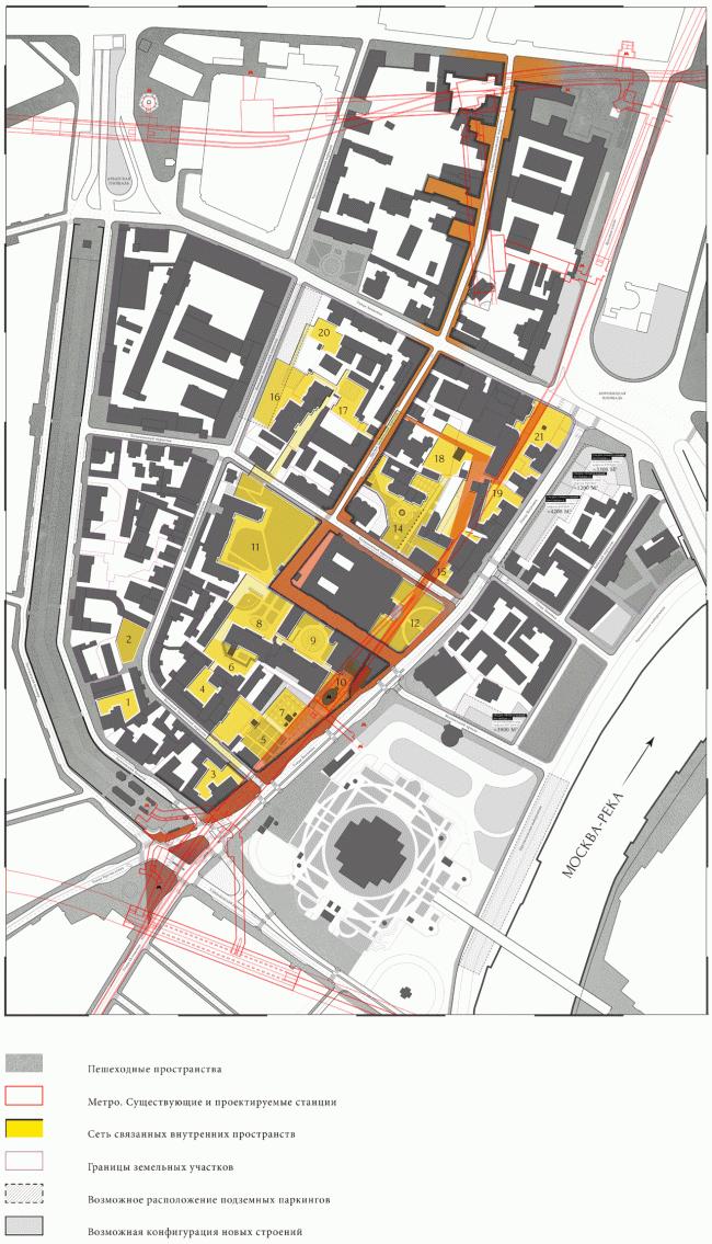 "Master plan of the territory. Volkhonka Quarters - Culture Territory - Volkhonka Archive. Architectural and town-planning survey © ""Ostozhenka"" Bureau"