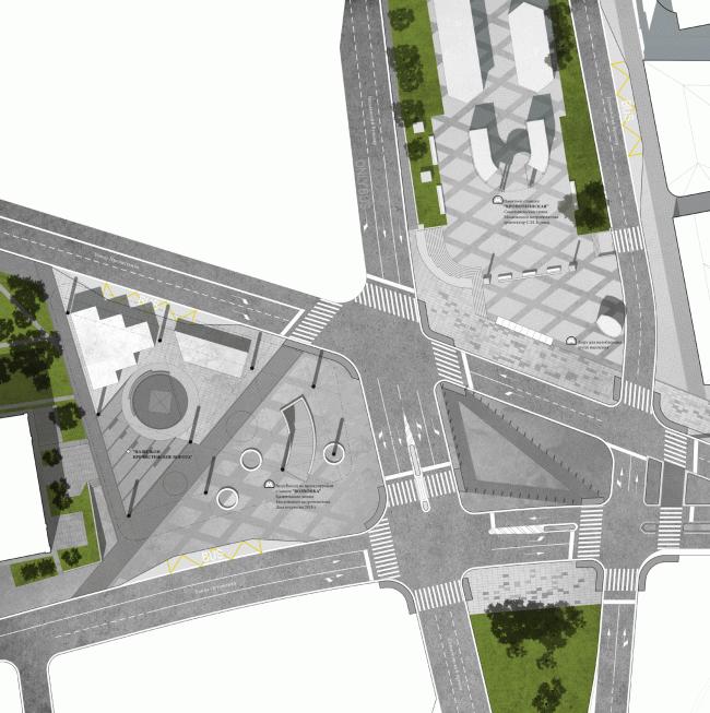 """Fragment: Prechistenskiye Vorota Square. Volkhonka Quarters - Culture Territory - Volkhonka Archive. Architectural and town-planning survey © """"Ostozhenka"""" Bureau"""