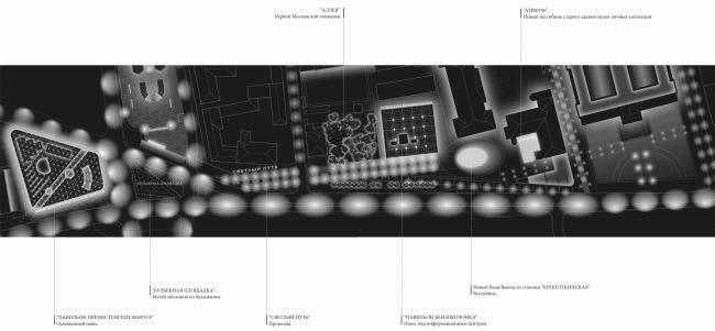 "Street lighting concept. Volkhonka Quarters – Culture Territory – Volkhonka Archive. Architectural and town-planning survey © ""Ostozhenka"" Bureau"
