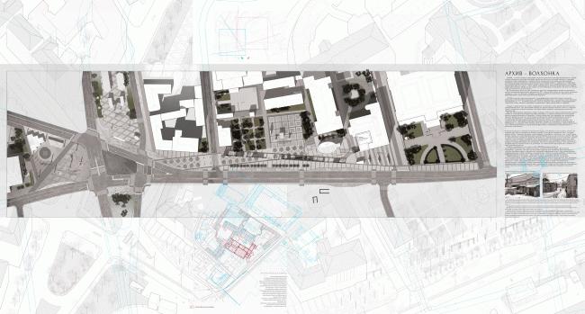 "Expo boards at ""Zodchestvo-2014"". Volkhonka Quarters – Culture Territory – Volkhonka Archive. Architectural and town-planning survey © ""Ostozhenka"" Bureau"