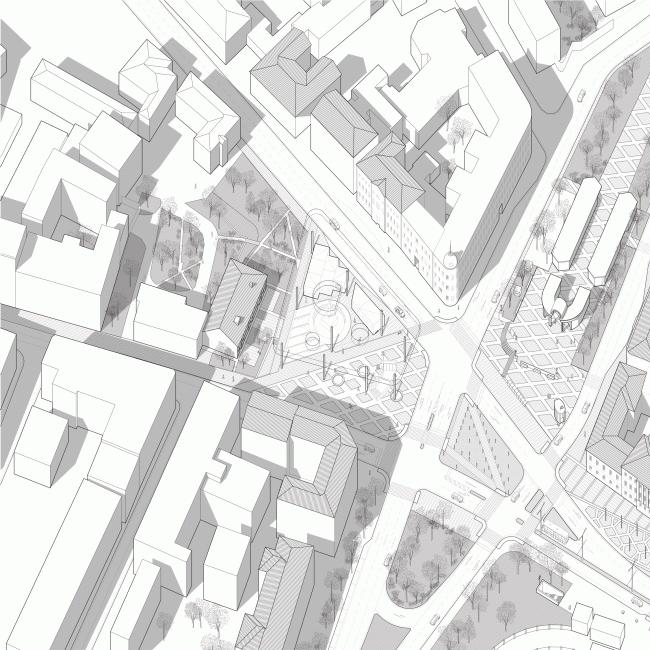 "Perspective geometry of the Prechistenskiye Vorota Square. Volkhonka Quarters - Culture Territory - Volkhonka Archive. Architectural and town-planning survey © ""Ostozhenka"" Bureau"