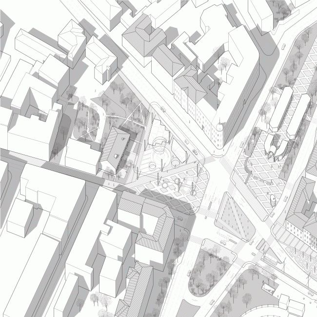 "Perspective geometry of the Prechistenskiye Vorota Square. Volkhonka Quarters – Culture Territory – Volkhonka Archive. Architectural and town-planning survey © ""Ostozhenka"" Bureau"