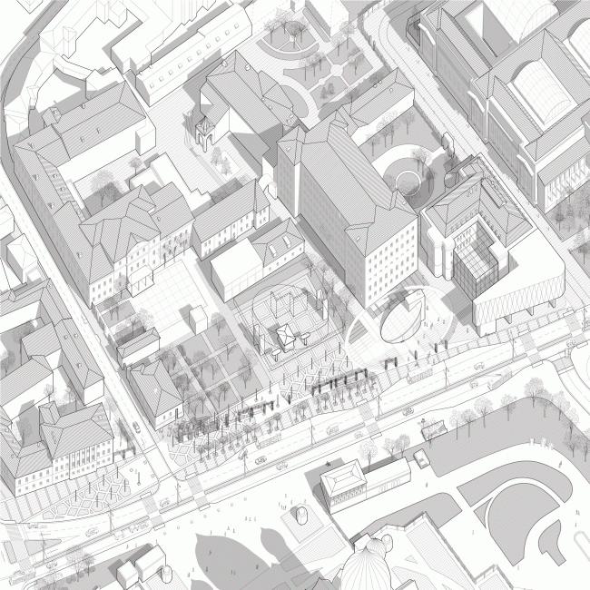 """Perspective geomentry along the western part of the Volkhonka. Volkhonka Quarters – Culture Territory – Volkhonka Archive. Architectural and town-planning survey © """"Ostozhenka"""" Bureau"""