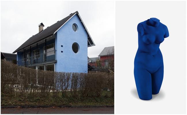 Голубой дом в Обервиле (1979) и «Синяя Венера» Ива Кляйна (1962). Изображение с сайта www.pepecabrera.com