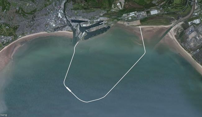 Приливная лагуна залива Суонси. Фото побережья с птичьего полета с указанием расположения лагуны. Предоставлено LDA Design