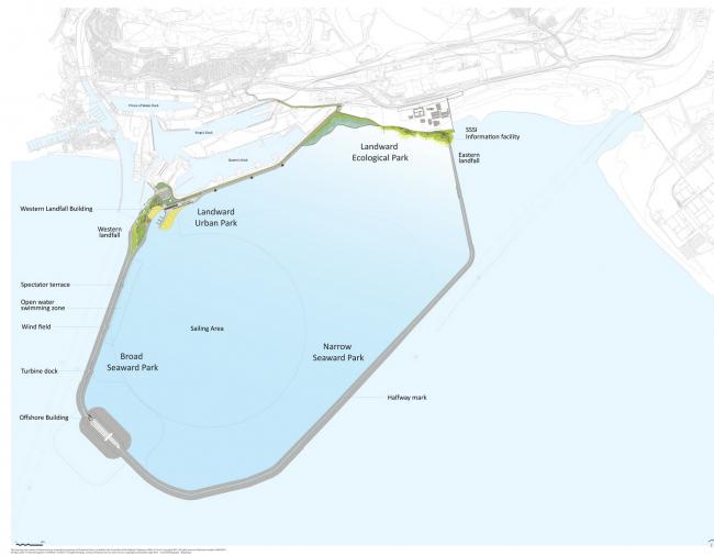 Приливная лагуна залива Суонси. Мастерплан. Предоставлено LDA Design