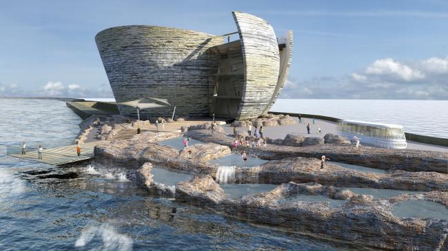 Приливная лагуна залива Суонси. Корпус в отдалении от берега. Предоставлено Juice Architects