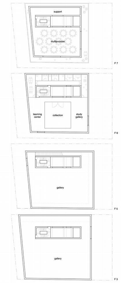 Новый музей современного искусства. Планы 4-8 уровней © SANAA