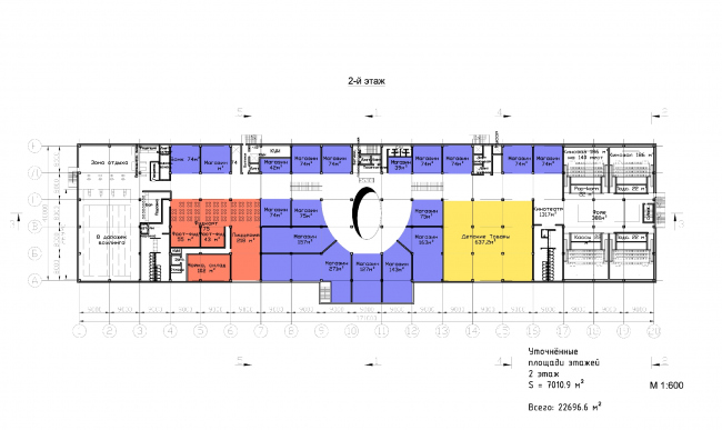 "Multifunctional retail center ""Five Planets"". Plan of the second floor © Totan Kuzembaev Architectural Studio"