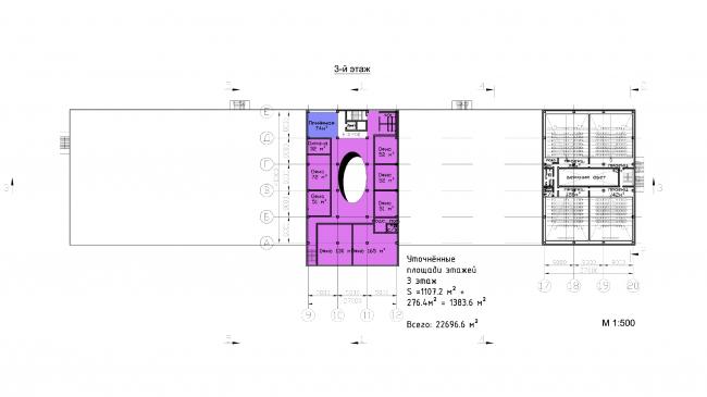 "Multifunctional retail center ""Five Planets"". Plan of the third floor © Totan Kuzembaev Architectural Studio"