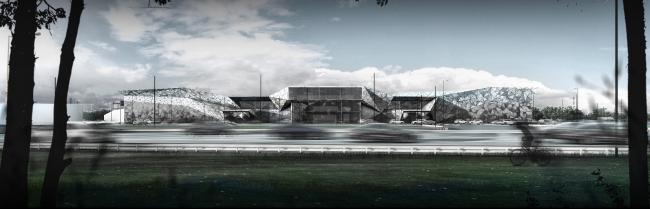 Многофункциональный торговый комплекс «Пять планет». Главный фасад © Архитектурная мастерская Тотана Кузембаева
