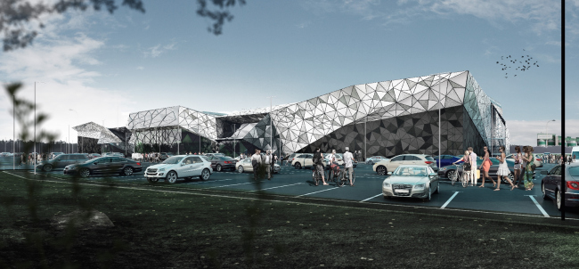"""Multifunctional retail center """"Five Planets"""". The shell of the aluminum cassettes of eight shades of the metallic color © Totan Kuzembaev Architectural Studio"""