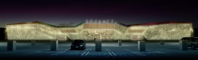 "Multifunctional retail center ""Five Planets"". Nighttime backlight © Totan Kuzembaev Architectural Studio"