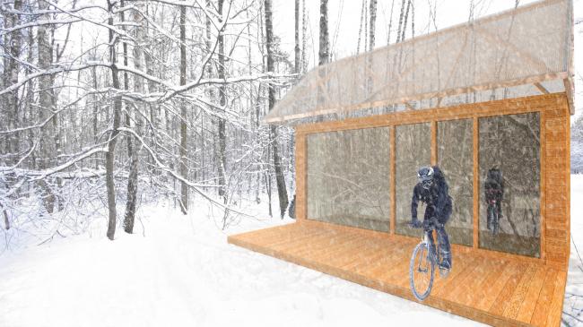 Проект экологичного жилья. Спальня в лесу © Архитектурная мастерская Тотана Кузембаева