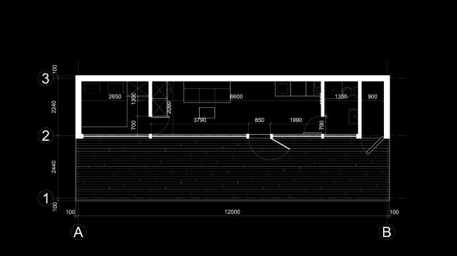 Проект экологичного жилья. План двухкомнатного модуля © Архитектурная мастерская Тотана Кузембаева