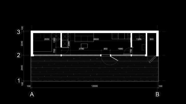 Eco house project. Plan of the doible-room module © Totan Kuzembaev architectural studio