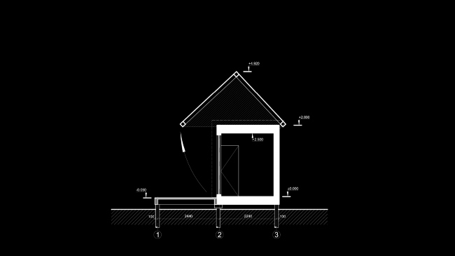 Eco house project. Section view of the house © Totan Kuzembaev architectural studio