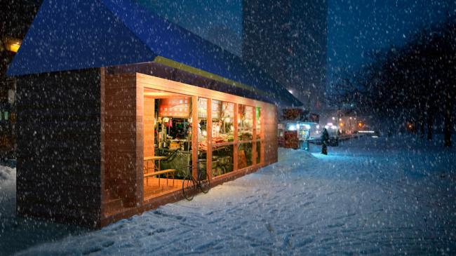 Проект экологичного жилья. Столовая или кафе © Архитектурная мастерская Тотана Кузембаева
