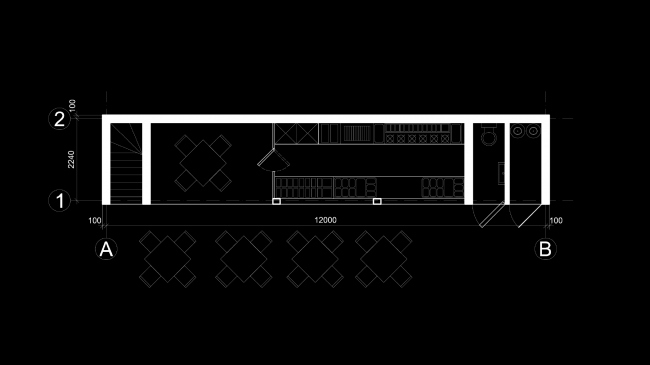 Eco house project. Plan of the dining room © Totan Kuzembaev architectural studio