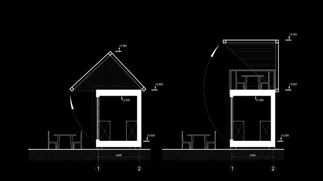 Eco house project. Section view of the dining room © Totan Kuzembaev architectural studio