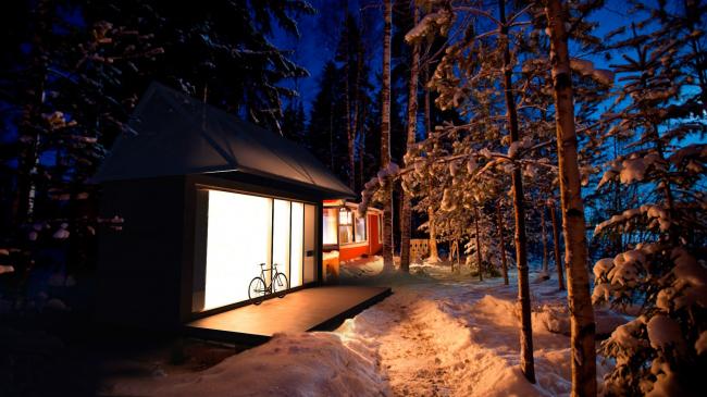 Eco house project. Bath house next to the lake © Totan Kuzembaev architectural studio