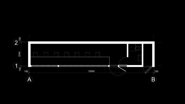 Проект экологичного жилья. Вариант планировки офиса © Архитектурная мастерская Тотана Кузембаева