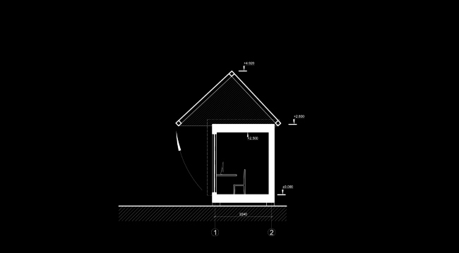 Проект экологичного жилья. Разрез офиса © Архитектурная мастерская Тотана Кузембаева