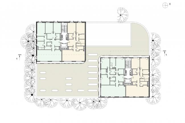 Plan of floors 1-6 © Sergey Skuratov ARCHITECTS