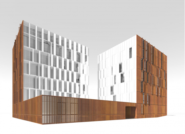East facade. The blinds are opened © Sergey Skuratov ARCHITECTS