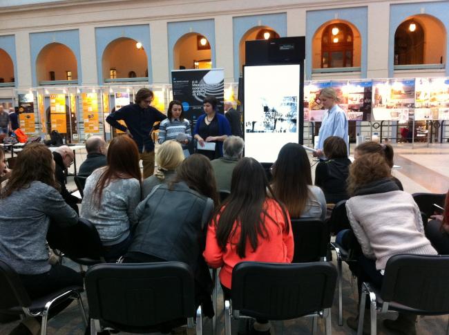 Презентация работы на семинаре, прошедшем в рамках выставки «Будущее. Метод». Фотография предоставлена Оскаром Мамлеевым