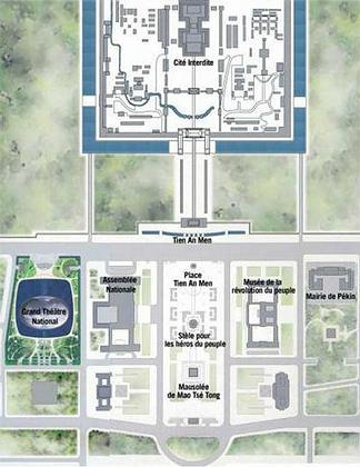 Большой народный театр Китая. Ситуационный план. Театр -  в левом нижнем углу схемы