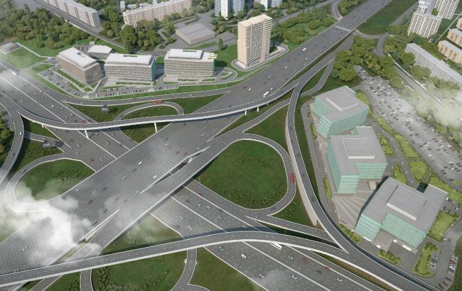 Расположение зданий офисно-делового центра «Западные ворота 2» относительно Можайского шоссе. Севернее шоссе – 1 очередь, южнее – 2 очередь© ABD architects