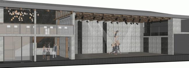 Малая сцена с раскрытой южной стеной, обращенной ко двору. Проект. «Электротеатр Станиславский». 2014 © Wowhaus
