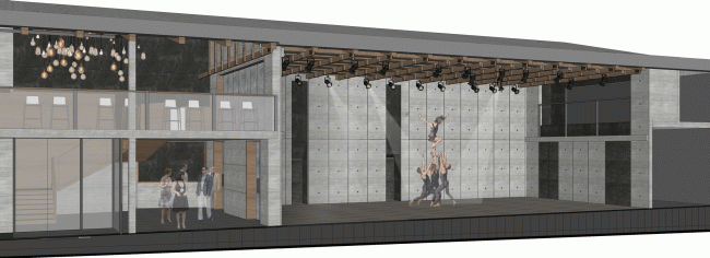 """Minor stage with the opened south wall turned onto the yard. Project. """"Electrotheater Stanislavsky"""". 2014 © Wowhaus"""