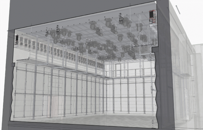 """Main hall. Project. Perspective and section view. """"Electrotheater Stanislavsky"""". 2014 © Wowhaus"""