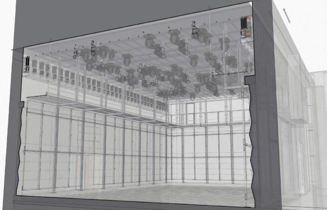 Основной зал. Проект. Перспектива и разрез. «Электротеатр Станиславский». 2014 © Wowhaus