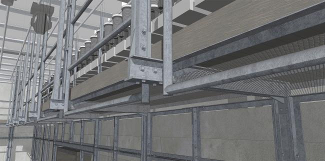 Основной зал, фрагмент конструкции галереи. Проект. «Электротеатр Станиславский». 2014 © Wowhaus