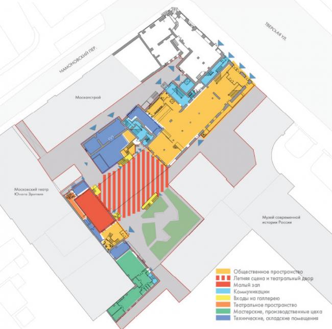 План 1 этажа. «Электротеатр Станиславский». 2014 © Wowhaus