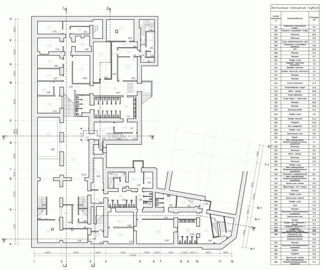 Строение 1, план подвала. «Электротеатр Станиславский». 2014 © Wowhaus