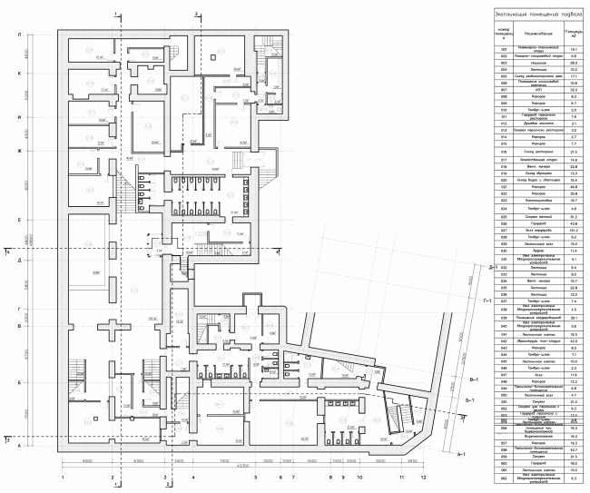 """Building 1, plan of the basement floor. """"Electrotheater Stanislavsky"""". 2014 © Wowhaus"""