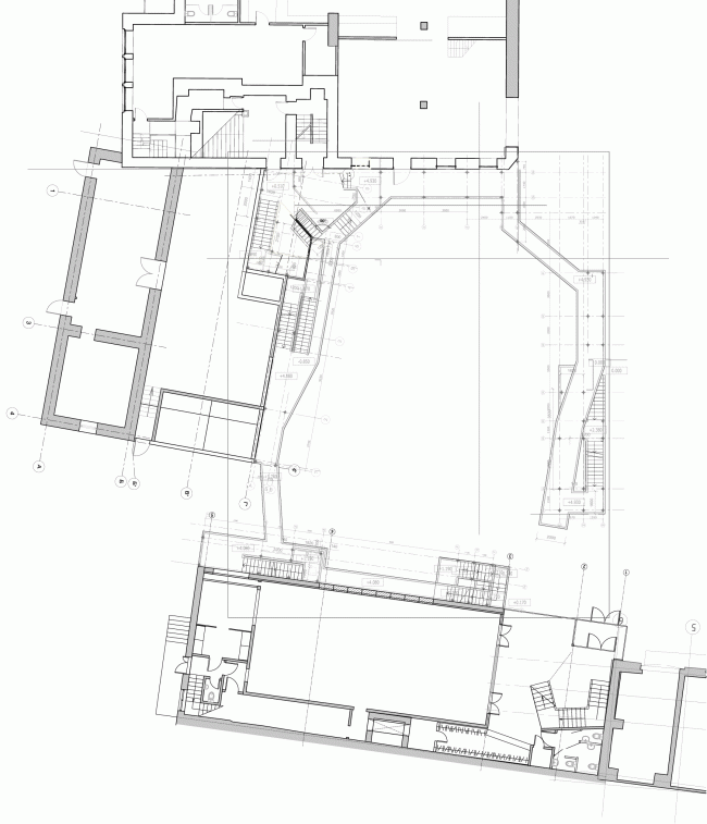 """Plans of Buildings 1,2 and the yard galleries. """"Electrotheater Stanislavsky"""". 2014 © Wowhaus"""