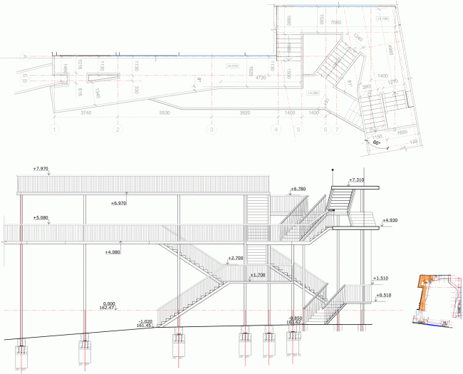 """Plan and section view of the west part of the yard galleries. """"Electrotheater Stanislavsky"""". 2014 © Wowhaus"""