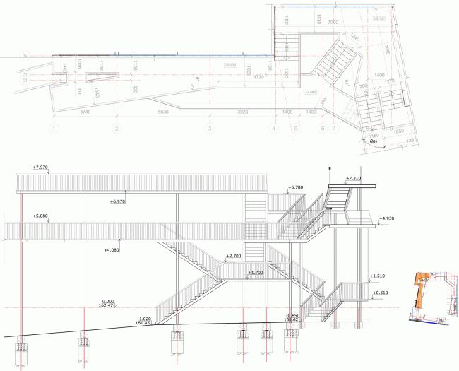 План и разрез западной части галерей двора. «Электротеатр Станиславский». 2014 © Wowhaus